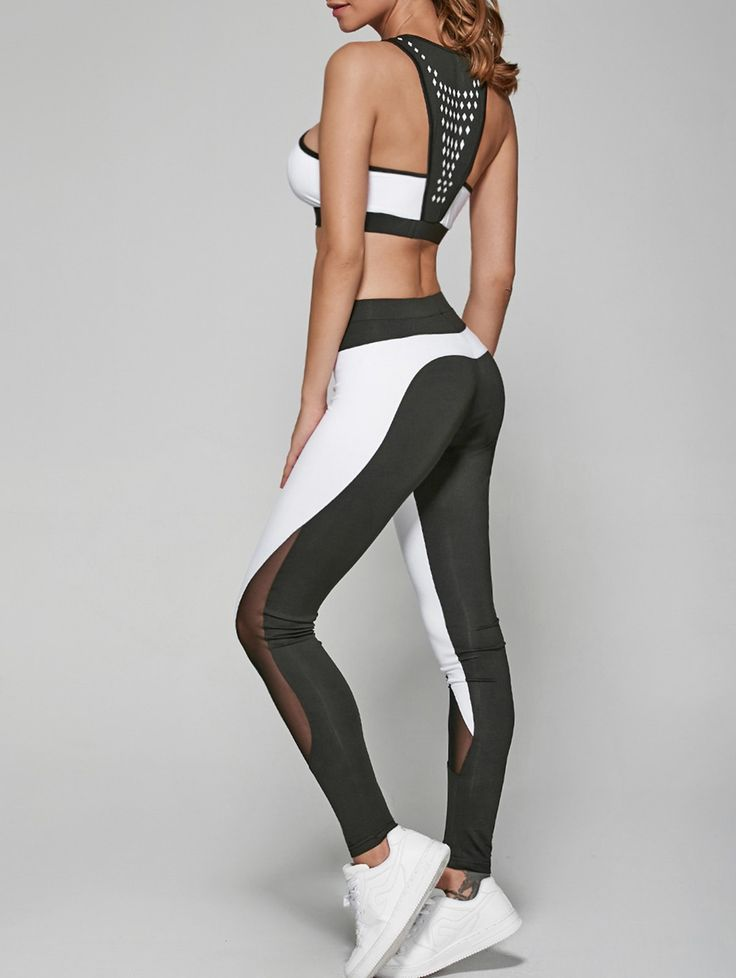 Only $16.93 for Geometric Print Bra and Mesh Spliced Leggings in Grey And White | Sammydress.com