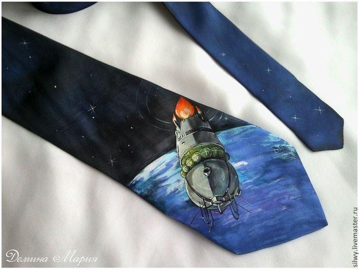 """Купить Шелковый галстук с росписью """"Тайны космоса"""" - космос, космический корабль, тайны космоса, галстук"""