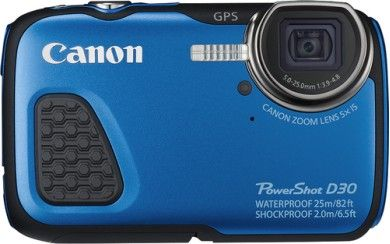 Canon - PowerShot D-30 12.1-Megapixel Waterproof Digital Camera - Blue - Larger Front