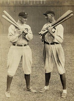 Ty Cobb of the Detroit Tigers, and Shoeless Joe Jackson of the Cleveland Naps in Cleveland, 1913.