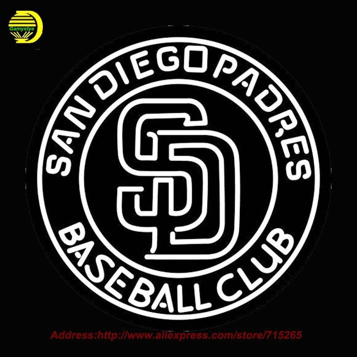 San Diego Padres MLB Logo Neon Sign Neon Bulb Room Recreation Neon Sign Glass Tube Handcraft Gifts Affiche indoor Window 26x26 #Affiliate