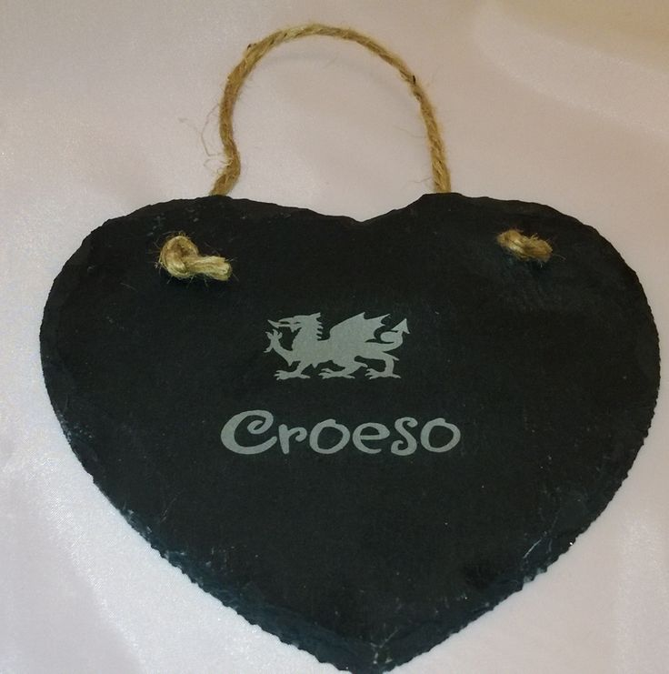 Engraved 'Croeso' heart slate sign - Engraved in Pembrokeshire, South West Wales!