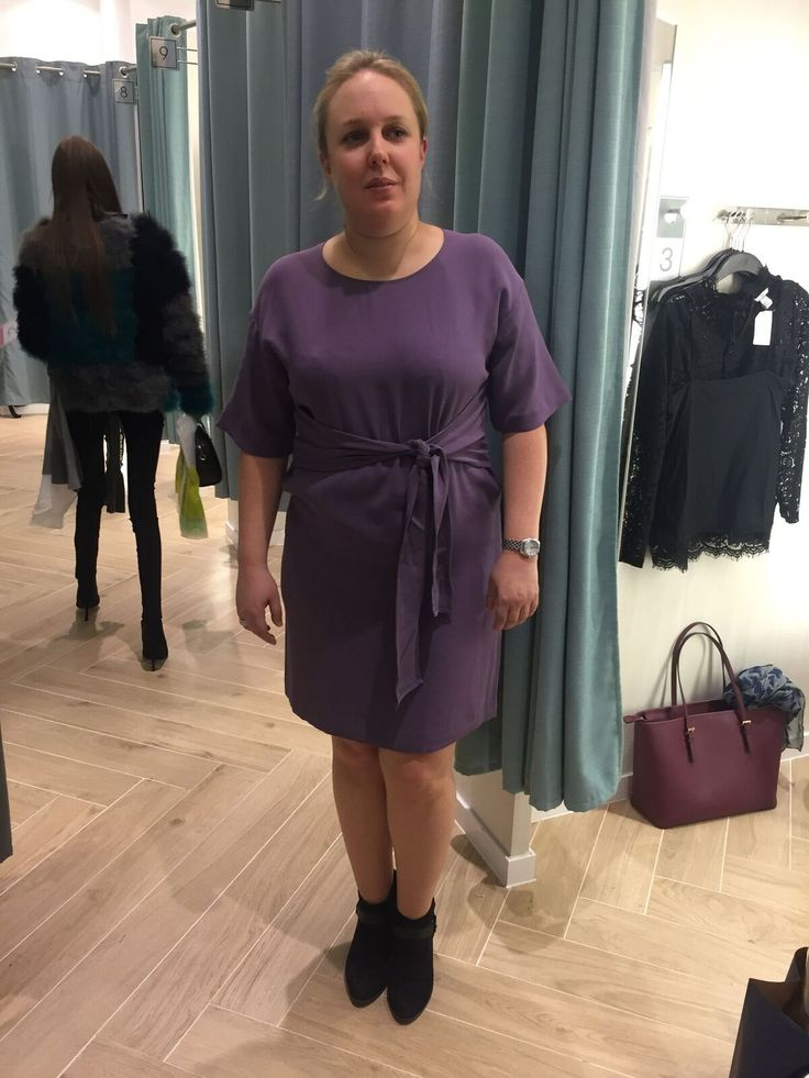 Purple wrap dress could be styled with black/grey heeled ankle boots and cropped matching jacked for a smart casual style. For a smarter look complete the style with the pearl set and swap the bots with heels.