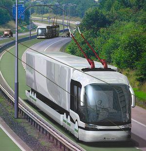 Trolleybus en trolleytruck op snelweg
