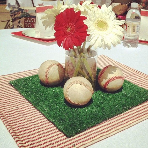 Baseball Baby Shower Centerpieces | Christy's Baseball Baby Shower | Shower Ideas