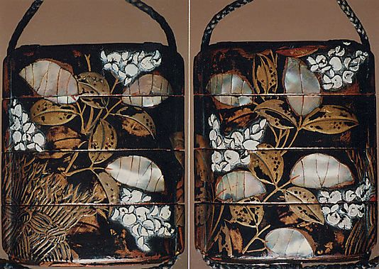 Case (Inrō) with Design of Flowering Hagi beside a Brushwood Fence  Date:     17th–18th century Culture:     Japan: