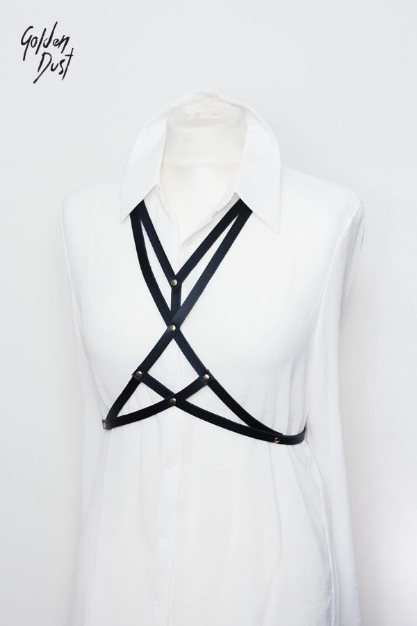 † .: Leather harness on the body. Outstanding and charismatic accessory, making each of us more expressive, unique and sexy! It works perfectly in many stylizations. We wear it on bare skin, on top, blouse, dress, shirt.. It emphasizes the shape of waist and hips. Everything is hand-made from genuine leather.