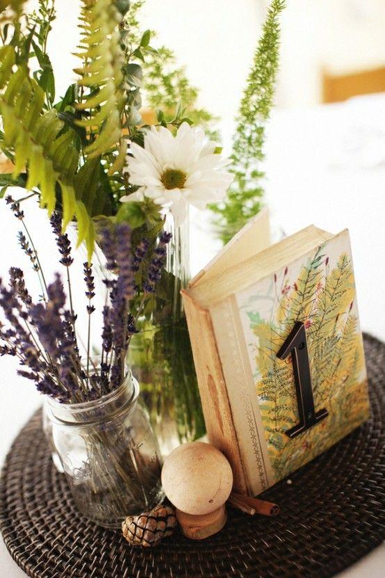 table number on a book.    A Charming Affair: A Mason Jar Wedding
