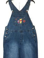 DISNEY Bib Overalls Jeans Medium Winnie Pooh Eeyore Boho Flower Power Sanded