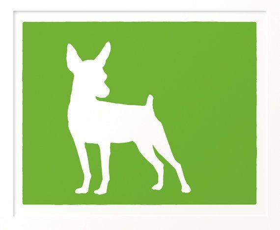 Mod Min Pin Dog Miniature Pinscher Art Print 8x10 by ModDogShop