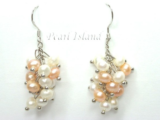 Elegance Peach & White Pearl Cluster Earrings: www.pearlisland.co.uk