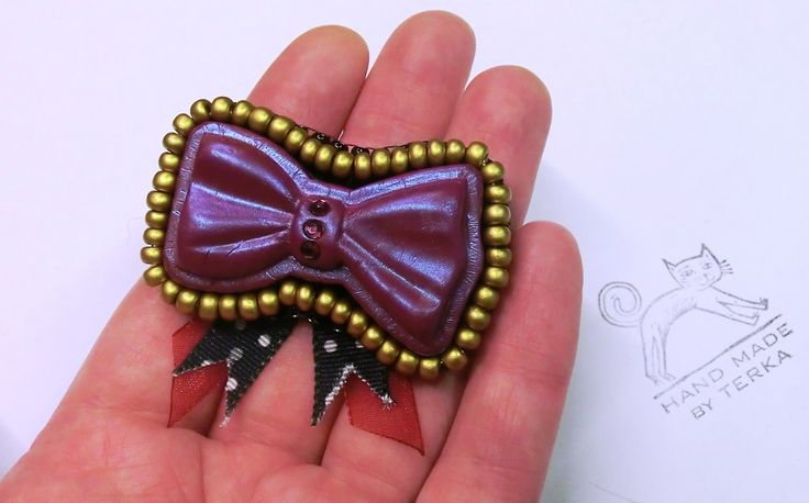 Bow brooch pin polymer clay