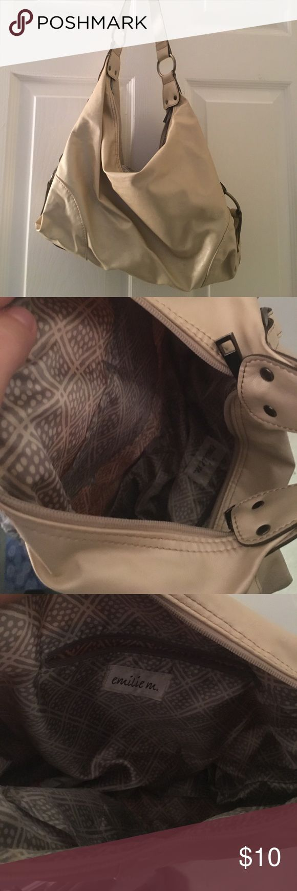 Cream shoulder purse Slight wear  Shoulder purse light weight silver hardware Bought from tj maxx emilie Bags Shoulder Bags