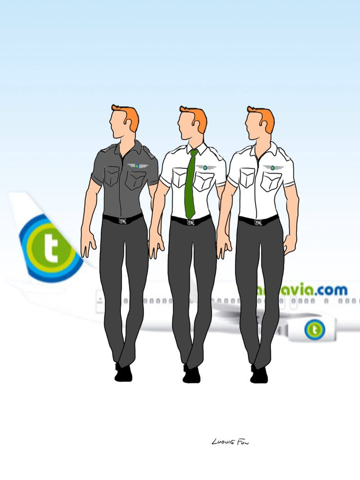 Design concept for transavia.com's upcoming new cabin crew uniforms. Three color variations on men's slim fit shirt, necktie and charcoal trouser combo.