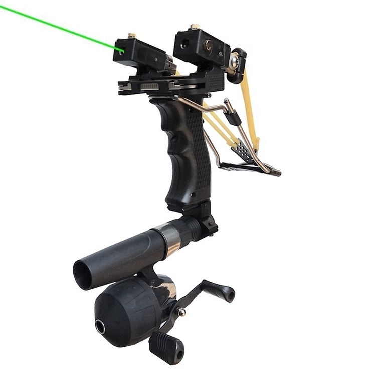 Red/Green Laser Fish Slingshot with the Fishing Reel Stainless Steel Aluminium Alloy Archery Shooting Hunting Equipment