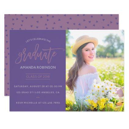 Ultra Violet confetti Graduation Party invite - graduation party invitations cards custom invitation card design party