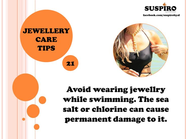TIP 21  Avoid wearing jewellry while swimming. The sea salt or chlorine can cause permanent damage to it.  #Suspiro #Jewellery #CareTips
