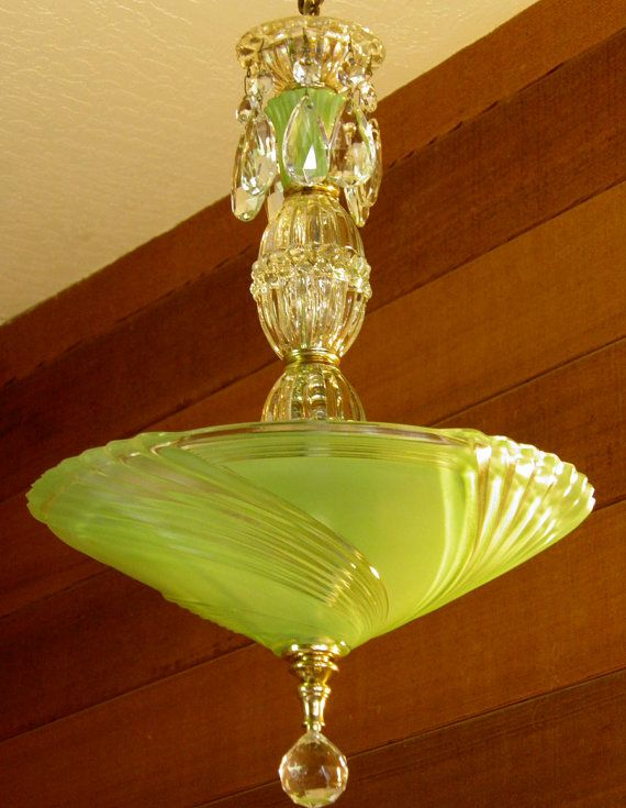 Vintage Chandelier Jadite Art Deco Chandelier Antique Ceiling Light Rewired Gorgeous Color Pristine Condition very Pretty