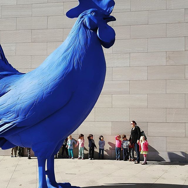 When taking children to visit an object in a museum, it's important to be mindful whether the children will be able to see it from their vantage point...we don't need to worry about that will Katharina Fritsc's Hahn/Cock at @ngadc! 🔵:r