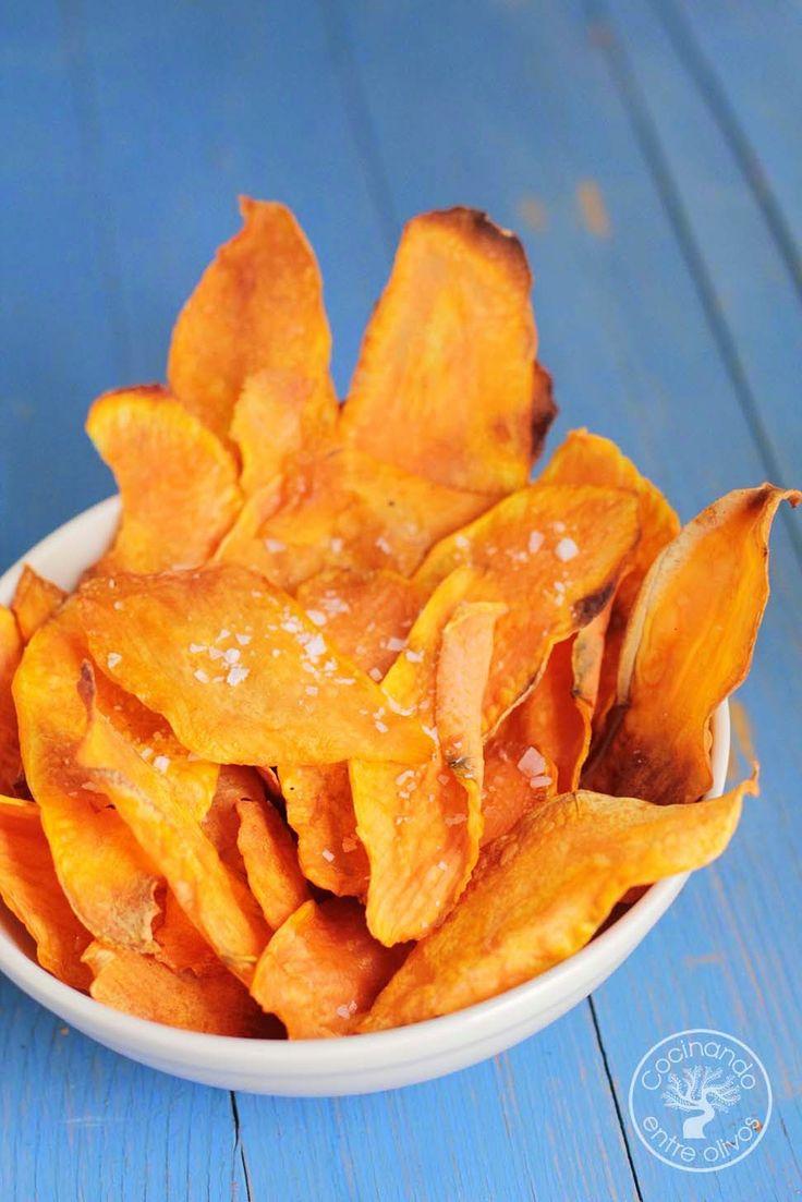 Chips de boniato al horno. Receta paso a paso.