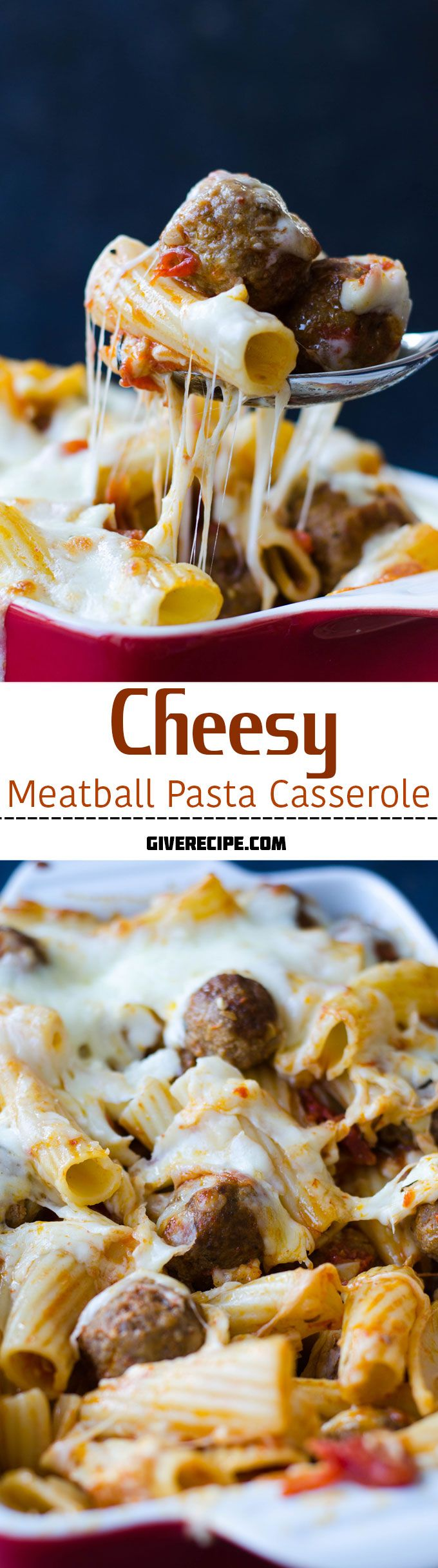 Cheesy Meatball Pasta Casserole is a dinner perfection. You will drool when it's baking. Don't use frozen meatballs for this recipe, make them yourself! | giverecipe.com