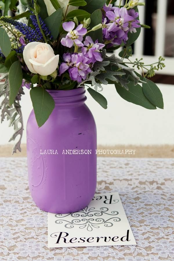 """Purple mason jar. I spray painted it using the brand """"Gold Acrylic""""  a little on the expensive side but totally worth it."""