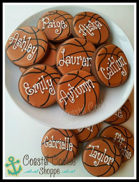 basketball cookies/great idea especially with the girls names