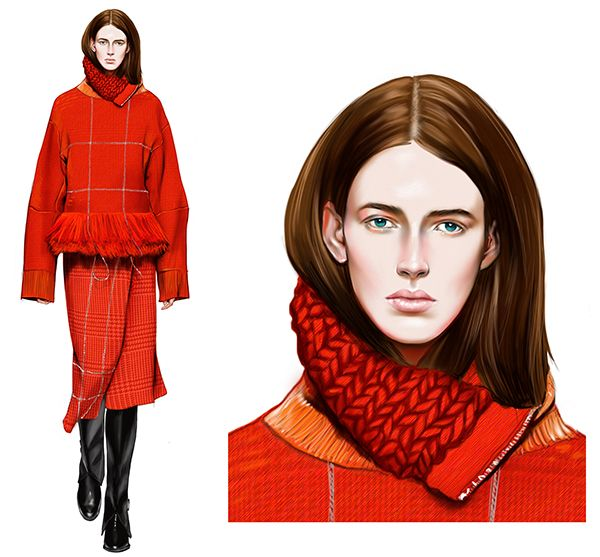 Farfetch editorial commission Illustrations #Red Sacai AW14 by Mengjie Di