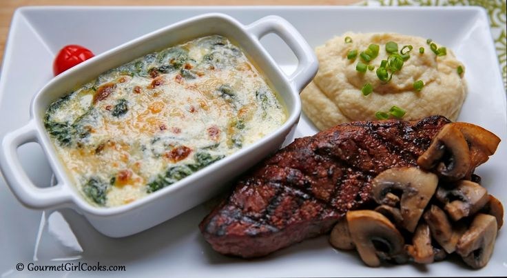 Gourmet Girl Cooks: Low Carb Creamed Spinach Served Alongside Grilled Steak & Parmesan Cauliflower Mash