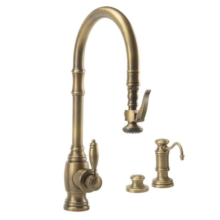 Waterstone 5600-3-AB Traditional PLP Pulldown Faucet - 3 Piece Suite Antique Brass-eFaucets.com