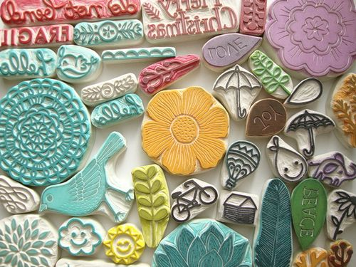 Colorful handmade stamps by Minna of Eat Pray Create (via freshly blended)