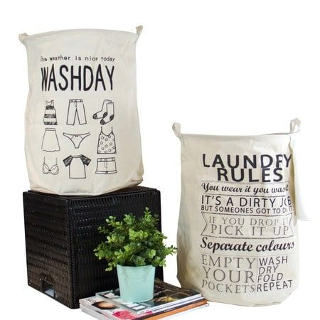 G Home Collection Washday and Laundry Rules Fabric Laundry Basket with Handles (Set of 2), Black (Canvas)