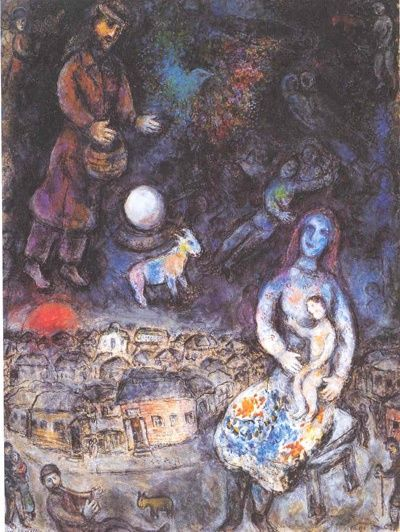 <가족>, 1975 캔버스에 유화 파리, 개인 소장  샤갈은 화가시절 초기인 1909년부터 자신의 가족을 그렸다. <가족>에서 배경이 된 도시는 비테프스크이며, 전체적으로 우울한 분위기를 풍긴다. 이런 분위기를 완화하는 것은 그림 속의 어머니가 아이를 향하는 자세이다. 그녀의 자세는 러시아의 전통적인 성모상에서 성모 마리아가 아기 예수를 향하고 있는 자세를 연상시킨다. 러시아와 유대세계를 연상시키는 요소들은 그외에도 많다. 예를 들어 그림 아래쪽에 숫양의 뿔을 쥐고 있는 악사, 염소, 긴 망토를 걸치고 서있는 남자 등이 그렇다.