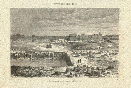 """""""La Piscine Superieure D'Ezechias""""  Wood engraving by Meunier after de Bar, 1882."""