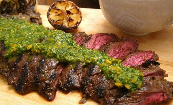 My Specialty....Grilled Marinated Grass Fed Skirt Steak with Chimmichurri Sauce....melts on your tongue like butter....
