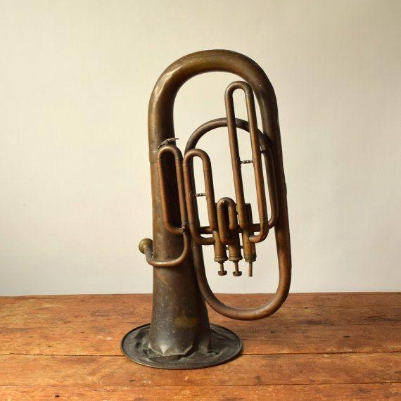 vintage brass band instrument baritone horn used worn musical display decor us band. Black Bedroom Furniture Sets. Home Design Ideas