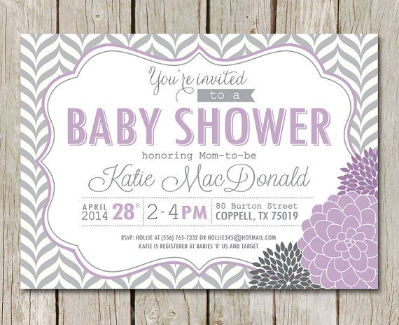 Púrpura bebé ducha invitación Chevron gris por kimberlyjdesign