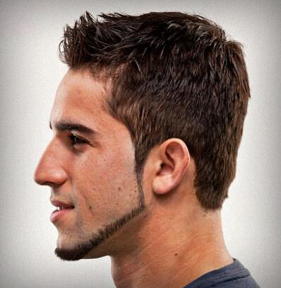 Chin Strap Beard  Shape – Square    How to grow – the chin strap beard is one of the shorter beard styles that works well with short hair. A fade would also go well with this beard. Let your sideburns fade gently into a short growth of stubble that moves along your jawline, covering your chin and back. Don't let the beard extend past the jawline onto your cheek as this will ruin the look. Keep the mustache down to stubble, along with a small, nearly invisible soul patch for added effect.