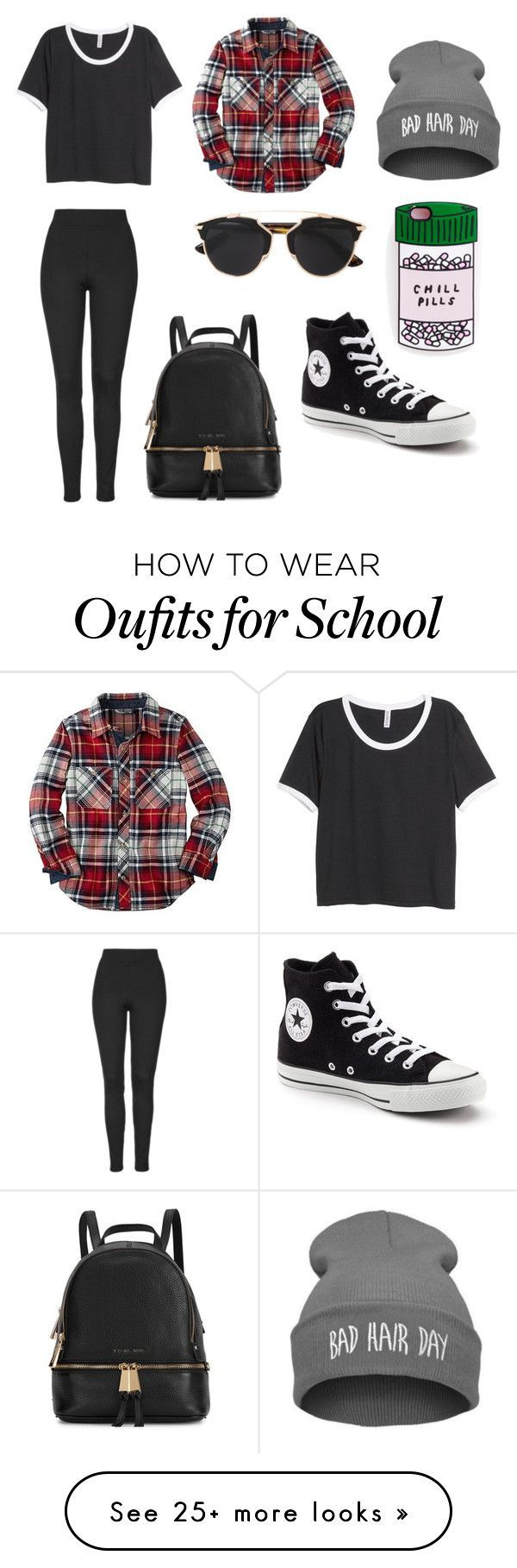 """School dayz"" by be-differient on Polyvore featuring H&M, Converse, Christian Dior, Topshop and Michael Kors"