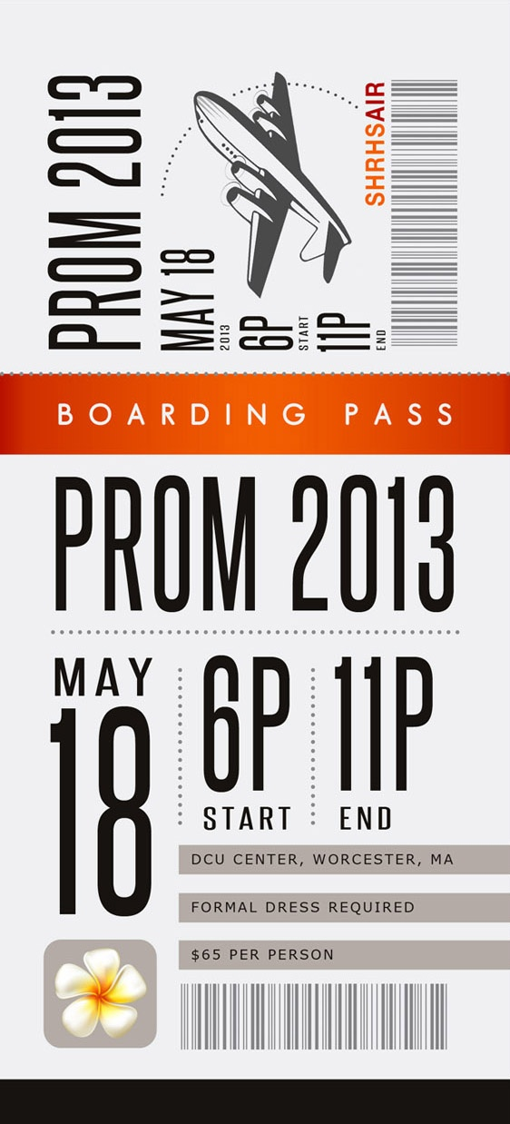 Prom Poster \ Ticket Shepherd Hill Regional High School Dudley, MA - prom tickets design