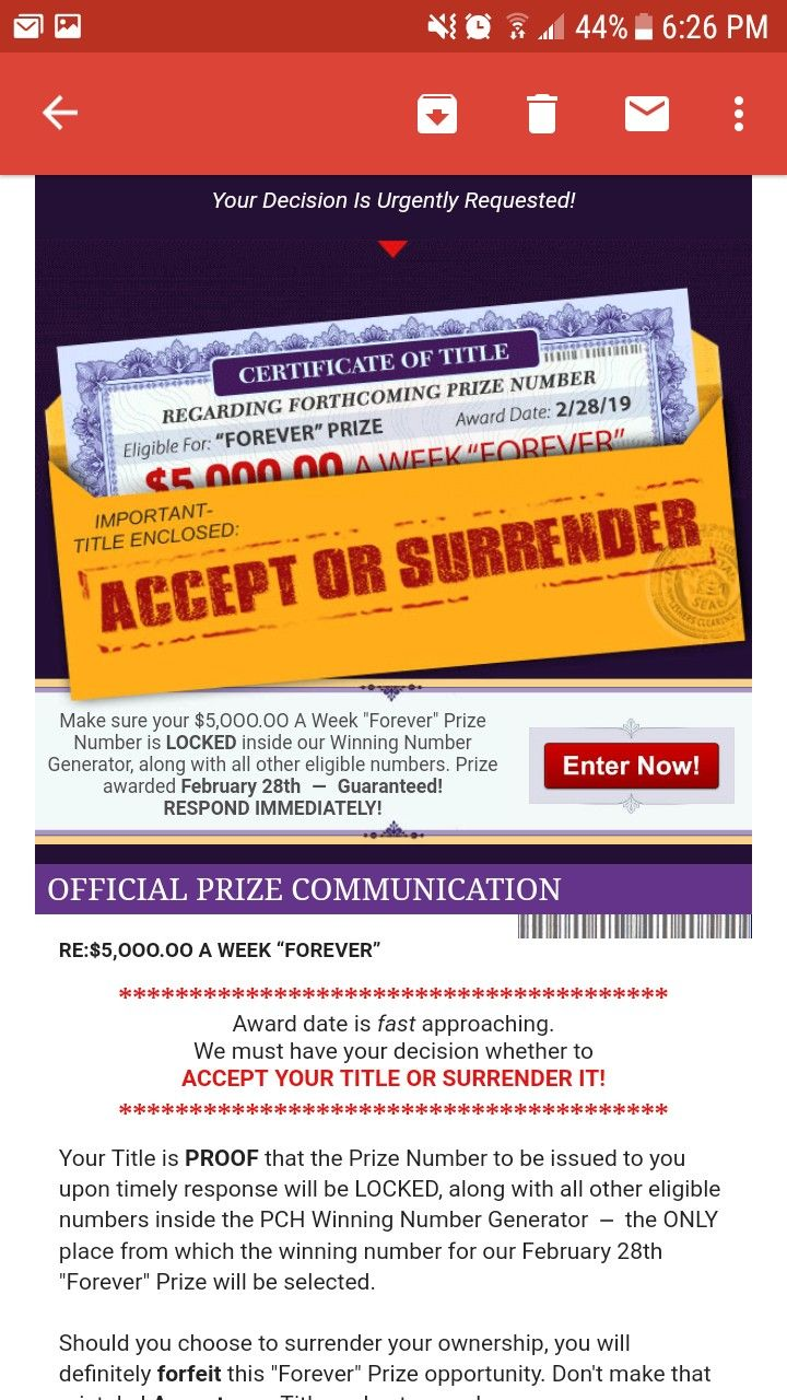 PCH I RROJAS ACCEPT MY OWNERSHIP TO MY WINNING PRIZE  | ACT NOW RR