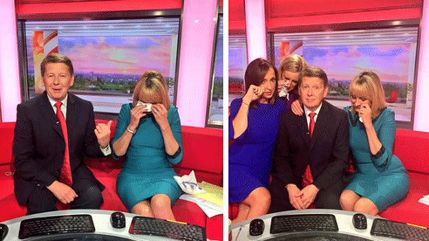 Bill Turnbull on the sofa with his tearful team Louise Minchin, Sally Nugent and Steph McGovern