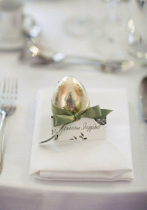 Almoço de Páscoa - mesa posta - marcador de lugar de ovo de chocolate com placecard