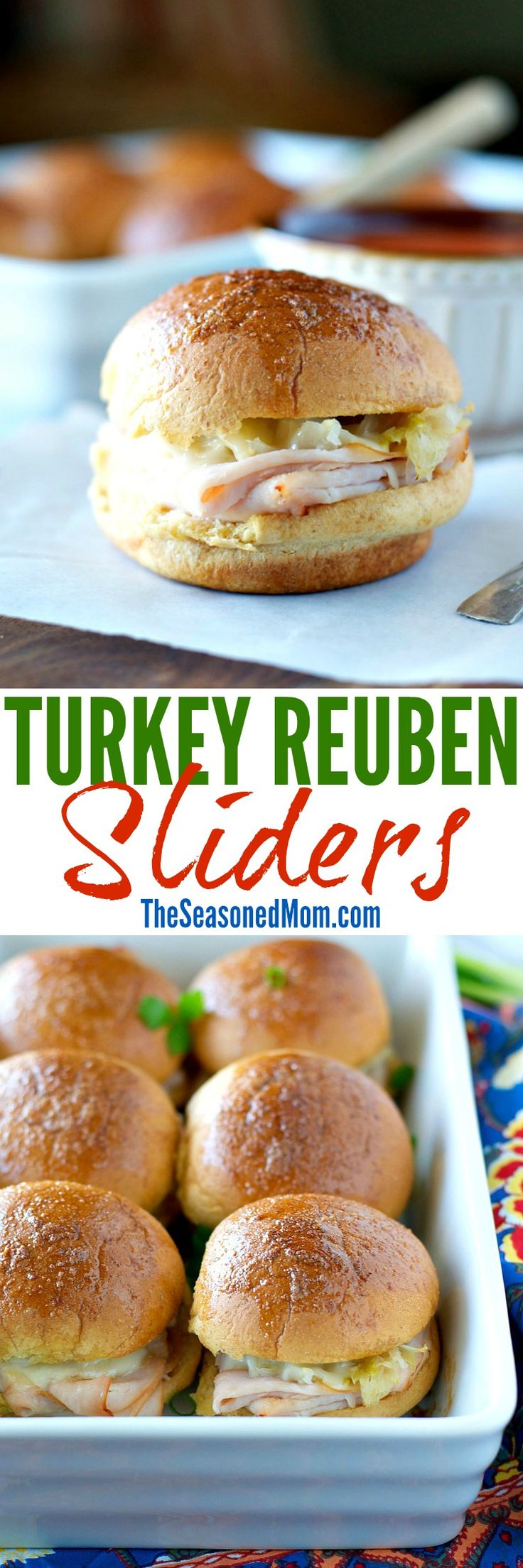 These baked Turkey Reuben Sliders are crowd-pleasing party appetizers or an easy weeknight dinner! Nobody can resist the buttery wholewheat roll that is stuffed with plenty of slow roasted turkey, warm and gooey Swiss cheese, sauerkraut, and a better-for-you Thousand Island dressing! #OscarMayerNatural #ad @OscarMayer