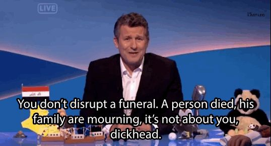 Last Friday, Aussie comedian Adam Hills received a lot of attention for these words, directed at the Westboro Baptist Church. | The Westboro Baptist Church Has Accepted Adam Hills' Invitation To Fly To Iraq