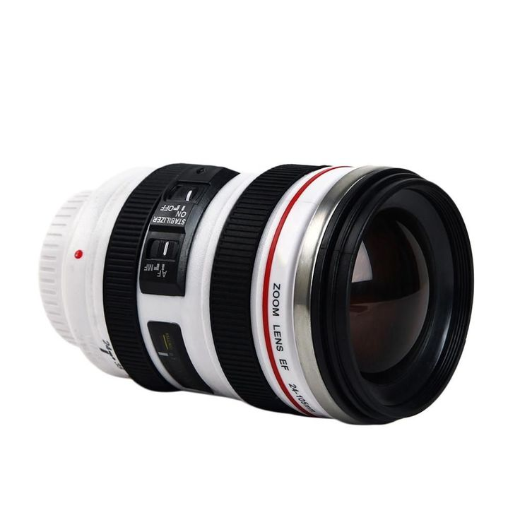 Stainless Thermos Canon Camera Lens Model EF 24-105mm Coffee Mug White Color
