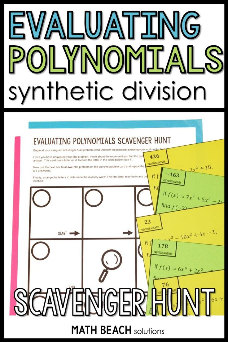 Evaluating Polynomials Using Synthetic Division Scavenger Hunt Activity In 2020 Polynomials Synthetic Division Algebra Resources