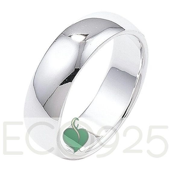 Eco wedding ring recycled Silver wedding ring 5mm by Eco925