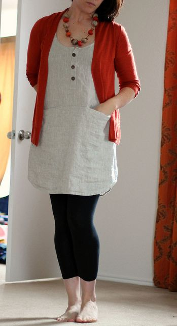 wiksten tank dress in natural linen modified with placket and pockets by wandering spirit designs - tunic length dress with leggings - this is easy to make without the buttons and pockets!