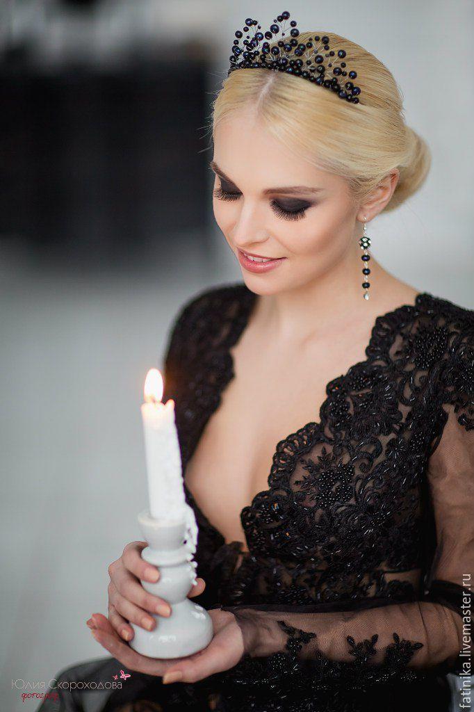 Купить Диадема тиара из черного речн.жемчуга/ свадебное украшение для волос - черный, украшение для невесты